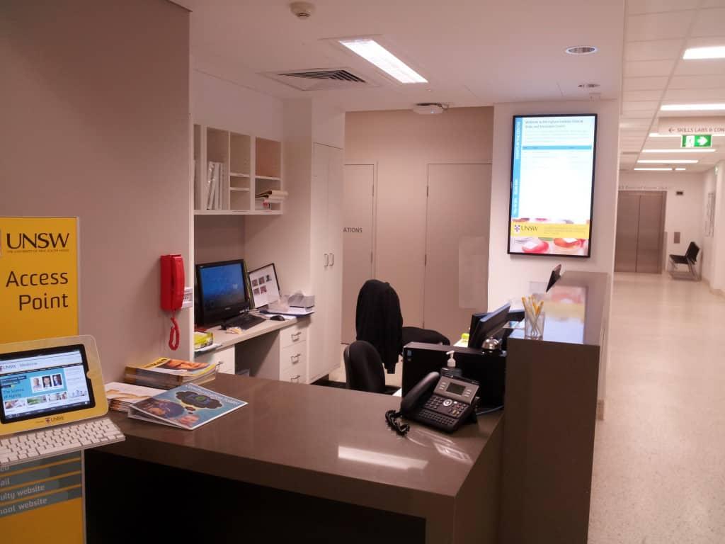 Digital Wayfinding Solutions UNSW Reception Area