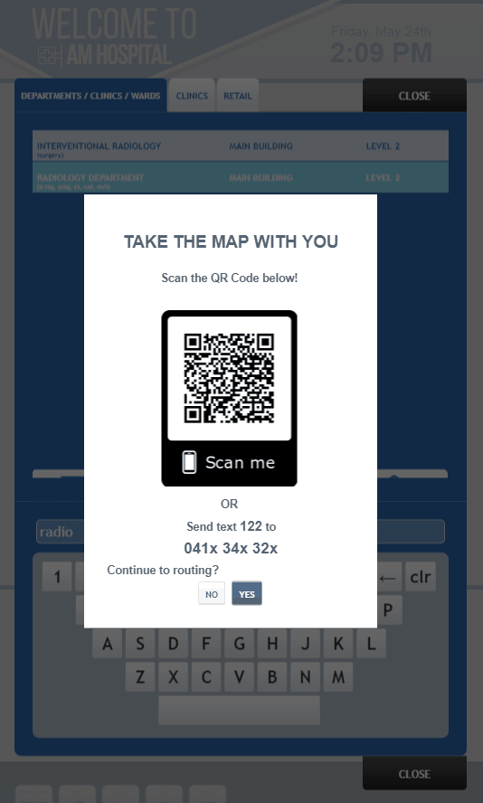 Digital Wayfinding Solutions - Take me with you module QR and SMS