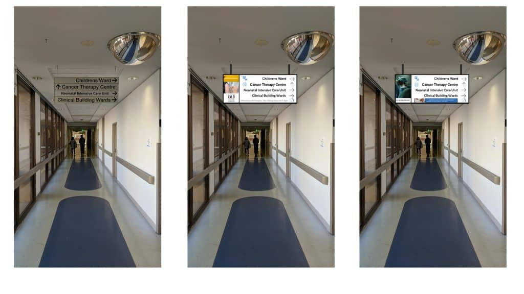 Digital Wayfinding Solutions - Directional Wayfinding Signage Screens Corridor Hospital