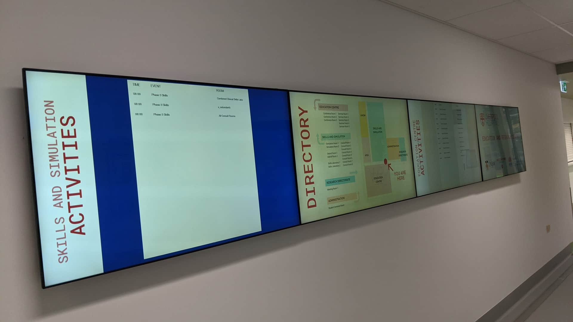 Digital Wayfinding Solutions -LIVERPOOL HOSPITAL EDUCATION AND RESEARCH CONFERENCE ROOMS DIRECTIONAL WAYFINDING Video Wall 2